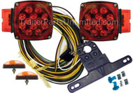 "Part No. J-20445-NCD LED Over 80"" Submersible Clamshell Kit. Includes: Right Side Tail Lamp & Left Side Tail Lamp Two Marker Lamps. 25' Wire Harness. License Plate Bracket. Wire Connectors & Hardware. 14"" Wiring Leads. Marine compatible."