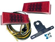 "led low profile lighting kit for over 80"" wide boat trailers. 3"" x 8"" size submersible tail lights sealed electronics and 13"" pre-attached leads for use on regular trailers and marine boat trailers over 80"" wide. Curbside (right) led light has 17 diodes. Streetside (left hand) led light has 21 diodes. Including license lamp diodes. Fits applications with 2-bolt industry standard mounting for easy replacement or upgrade from popular low profile led lighting applications. This led light kit meets all DOT / SAE standards."