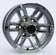"15"" x  6"" Aluminum Spoke Silver Trailer Wheel T06 6 on 5.5"""