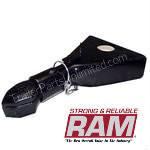 Ram CA-5270-B - This sleeve lock coupler comes with a precision angle shaped self-adjusting cast head for easy hooking and unhooking. Low profile lever latch on the a-frame couplers eliminate any interference with long handled sidewind jacks. Black powder coat finish and lanyard pin assembly.