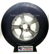 "15"" ST225/75R15 10-Ply Steel Belted Radial Rainier Trailer Tire Mounted on 15"" x 6"" Custom Aluminum J55 Silver Wheel 5 lug on 4.5"" Bolt Pattern 2,830 lbs Capacity"