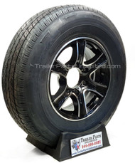 ST225x75x15 10ply Radial Trailer Tire on Aluminum 6 lug wheel 6x5.5""