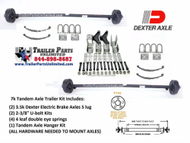 "7k Tandem Trailer Axle Kit. Includes (2) 3.5k Dexter Electric brake drum axles with 5 lug hubs / drums, 10""x2"" brakes, (4) double eye springs, (2) u bolt kits, (1) tandem axle hanger kit. All hardware needed to mount trailer axles to frame and get you on the road."