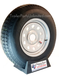 "ST205/75D15 6-Ply Tex*Star Bias Tire on Silver Mod Wheel 5x4.5"" Mounted Load range C 1820 lbs capacity 27"" overall diameter 7"" section width mounted on Silver Mod Steel Wheel"
