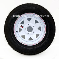 "ST205/75D15 6-ply TexStar Bias Trailer Tire Mounted on 15"" White spoke Steel Wagon Wheel 5 lug on 5"" bolt pattern"