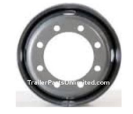 "17.5"" x 6.75"" Silver Steel Dual Trailer Wheel 8 lug on 6.75"" Bolt Pattern. This wheel is commonly used with 15k and 16k Trailer Axles"