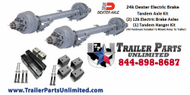24k Dual Tandem Axle Set. Includes: (2) 12k Dexter Electric Brake Drum Trailer axles with springs and u bolts attached, (1) Multi heavy duty hanger kit, (1) single heavy duty hanger kit. All hardware needed to mount axles to trailer and get you on the road.