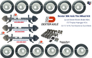 "(3) Dexter 10k GD Electric Brake Axles 8x6.5"" w/ Springs and u bolts assembled on axle.  (1) Triple Hanger Kit (all hardware included to mount axles to trailer) (12) 215/75R17.5 16-ply Tires Mounted on White Dual Wheels 8x6.5 Trailer Parts Unlimited Huntsville Texas"