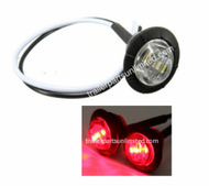 """Mini Red 3/4"""" round side 3 LED marker trailer bullet clearance license clear light with rubber base."""