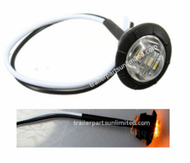 """Mini amber 3/4"""" round side 3 LED marker trailer bullet clearance license clear light with rubber base."""