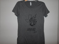 Hand drawn design, Bats thru Texas, on grey triblend crewneck t-shirt.