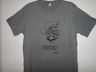 Hand drawn design Bats fliying thru Texas on soft grey triblend short sleeve t-shirt.