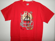 "Hand drawn design, 49ers on an adult Gildan heavy cotton t-shirt. Preshrunk 100% cotton jersey knit, seamless double needle 7/8"" collar, taperd neck and shoulders, double needle sleeve and bottom hem."