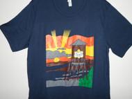Hand drawn design on Bella + Canvas navy unisex t-shirt.