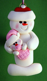 Snowman With Infant Girl