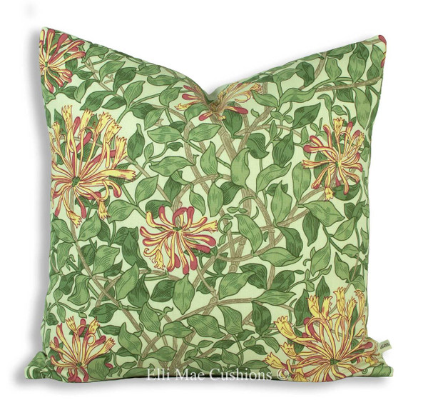william morris honeysuckle fabric cushion cover chalk yellow sofa throw pillow