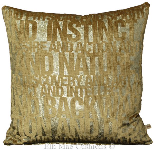 Cut Velvet Words In Beige And Silver Designer Fabric Sofa Cushion Pillow  Cover