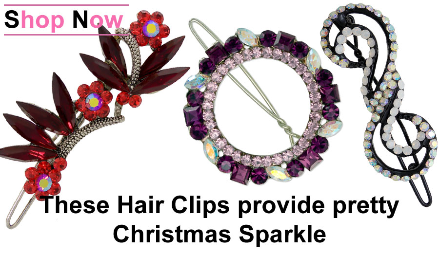 Add Christmas feeeling to your Hair with these sparkling Crystal Hair Clips