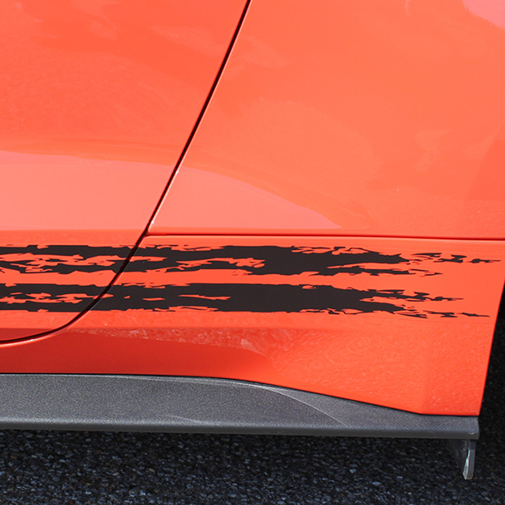 2015 Ford Mustang Breakup Vinyl Rocker Stripe Graphic Kit Close Up