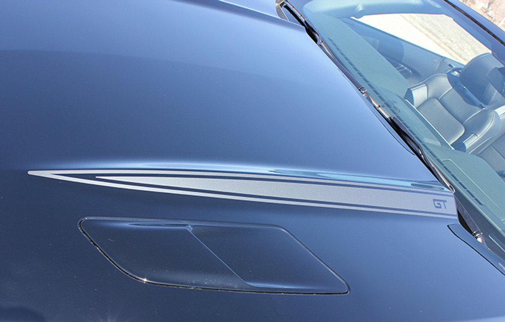 2015- 2017 Ford Mustang Hood Side Spears Vinyl Stripes Close Up