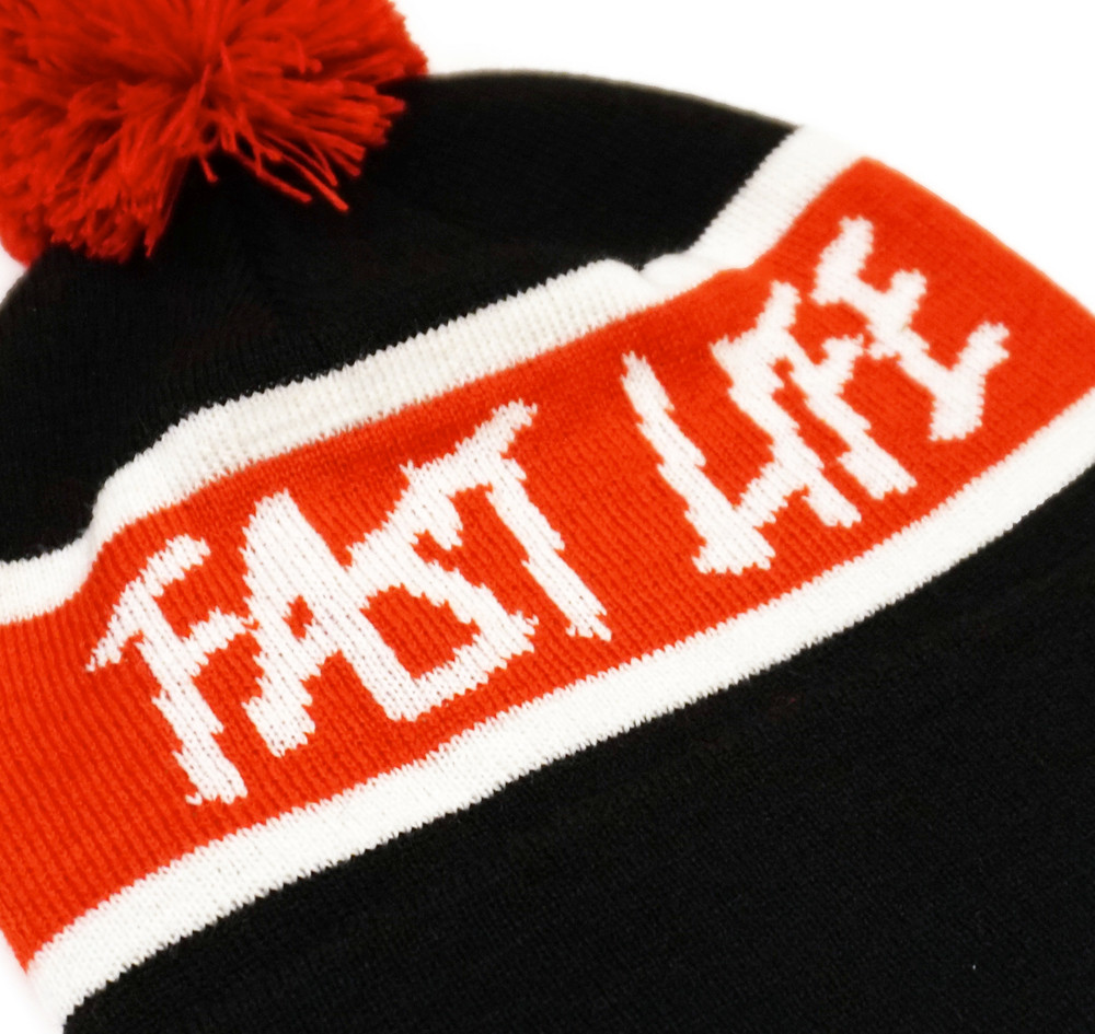 Fast Life Pom Beanie | Black/Red