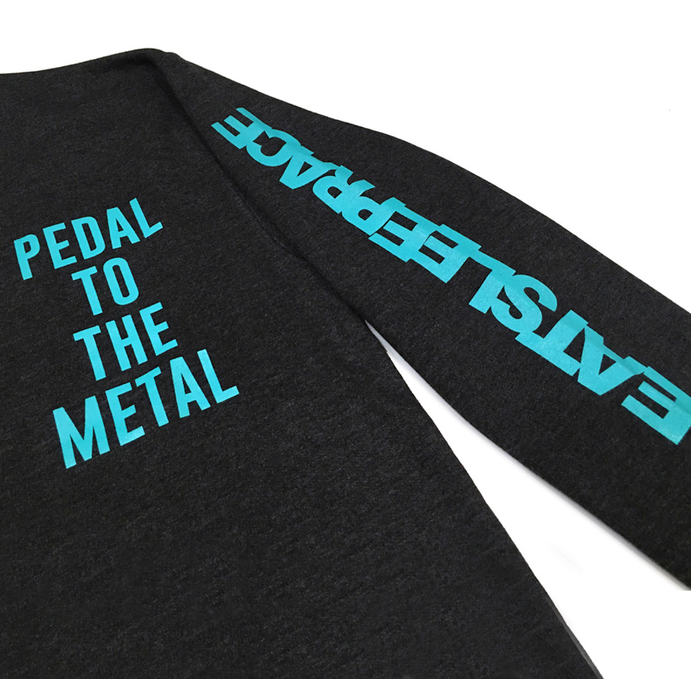 Pedal To The Metal Crewneck Sweatshirt   Charcoal/Teal