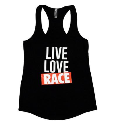 Ladies Live Love Race Tank Top | Black