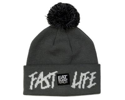 Fast Life Pom Beanie | Grey/White