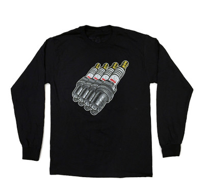 Cartoon Sparkplug Long Sleeve Shirt | Black
