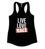Ladies Live Love Race Tank Top   Black