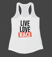 Ladies Live Love Race Tank Top | White