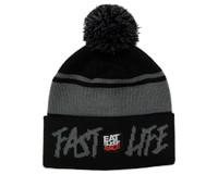 Fast Life Pom Beanie | Black/Grey