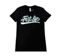 Ladies Fast Life Shirt   Black/Teal