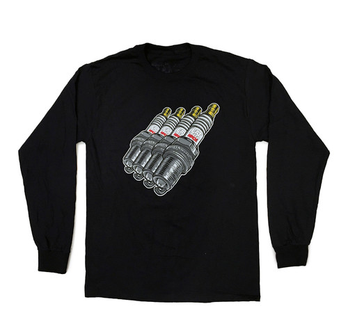 Cartoon Sparkplug Long Sleeve Shirt | Black