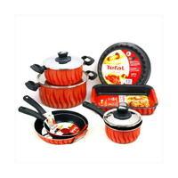 Tefal Tempo Flame Red 10 Piece Pan & Cookware Set