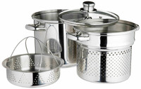 Kitchen Craft Italian Stainless Steel 20cm Pasta Pot With 4 Litres Steamer Insert