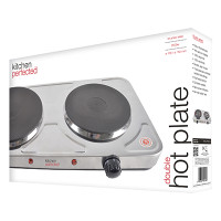 Lloytron KitchenPerfected 2500w Double Hotplate in Brushed Steel