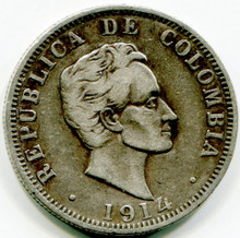 1914 Colombia 50 Centavos  KM#193.2  XF   .3617 ASW
