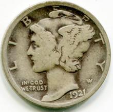 1921 D Mercury  Dime  VG+