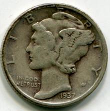 1937 Mercury Dime VF  Double Die OBV