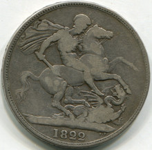 1822 Great Britain Crown KM#680.1  F+