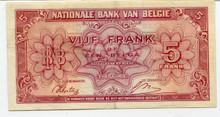 Belgium 5 Francs #121 VF