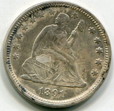 1891  Seated Liberty Quarter AU58