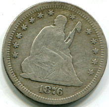 1876 S Seated Liberty Quarter,  F