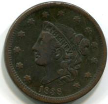 1838 Large  Cent , VF