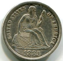 1885 Seated Dime, AU/cl