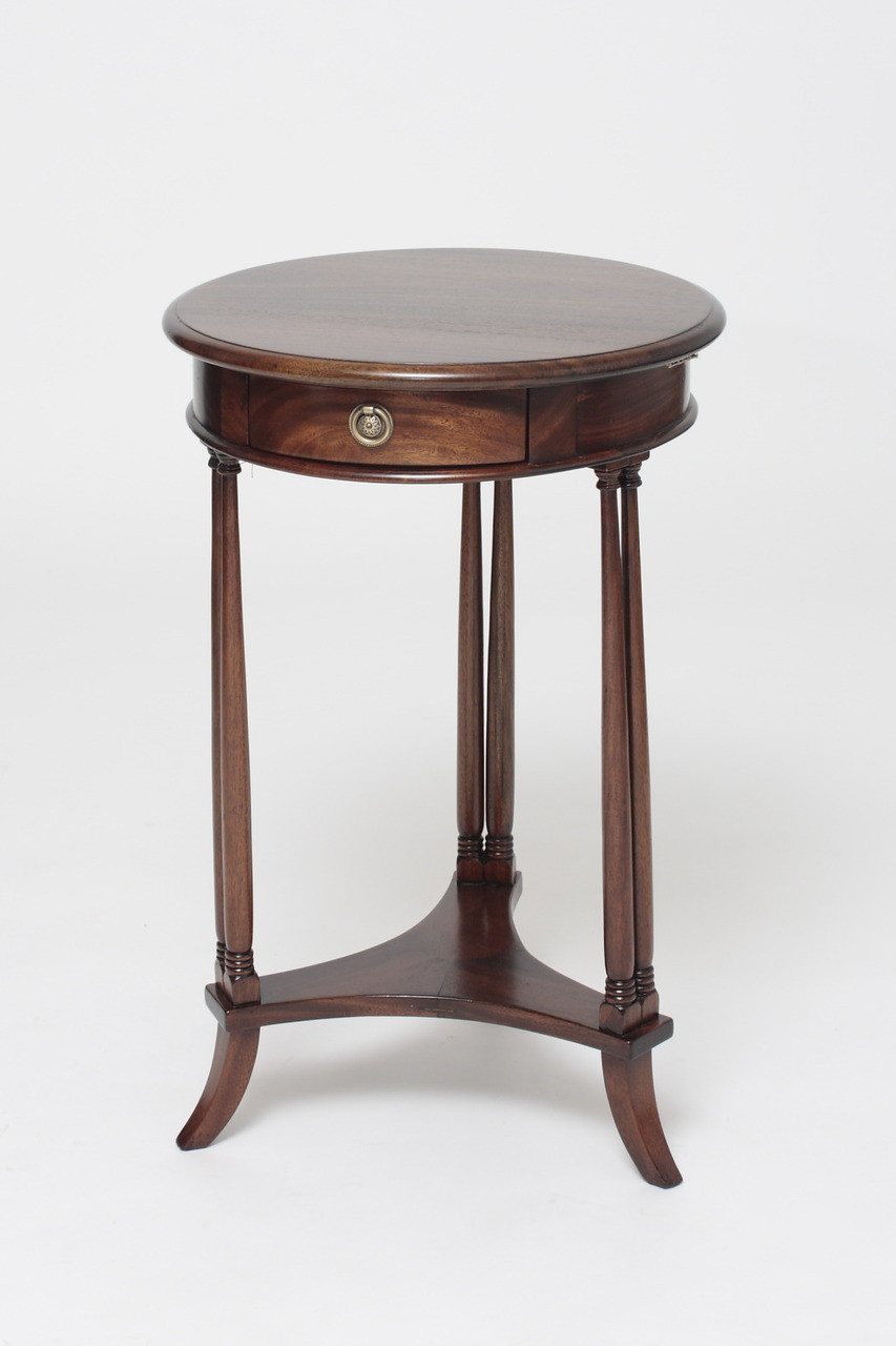Mahogany round side table laurel crown for Mahogany side tables living room