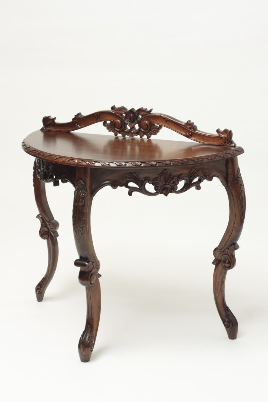 Antique Half Moon Table Laurel Crown