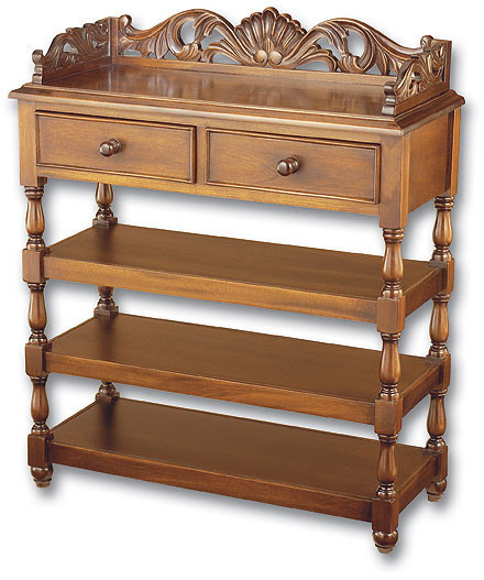 Large Shell Carved Whatnot Shelves