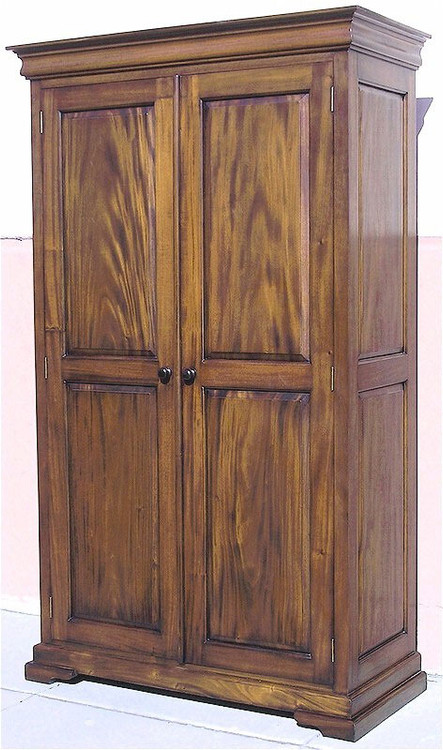 2 Panel Wardrobes Hand Carved Mahogany Armoires